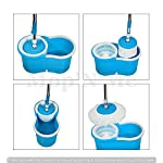 MOP N ME 360° Spin Floor Mop and Bucket with Plastic Spinner 2 Microfiber Refills – Blue