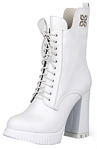 Boot Fashion Heel Leather High Laruise Women's White pSRvX