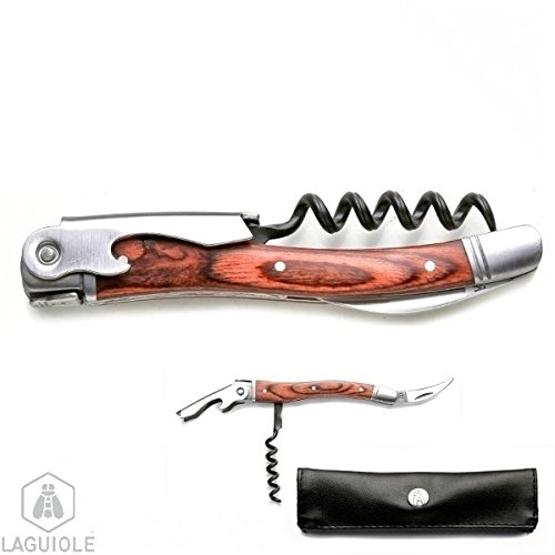 Cheap LAGUIOLE corkscrew with leather look case, 3 functions, sommelier with exotic wood handle, foil cutter and bottle opener, 5-spiral tempered steel worm Stainless, the essential day-to-day tool for every day; the beautiful gift.