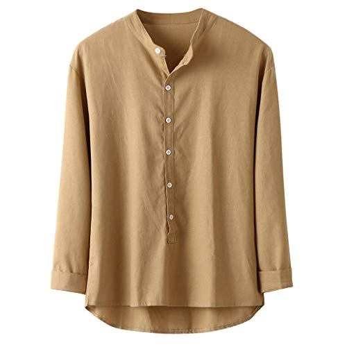 Sunhusing Men's Casual Solid Color Cotton-Blend Loose Button-Down Cotton Linen Blouse Autumn Shirt Top Tee - Boxy Sheer