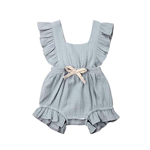 C&M Wodro Infant Baby Girl Bodysuit Sleeveless Ruffles Romper Sunsuit Outfit Princess Clothes (Gray-Blue, 18-24 Months)