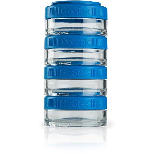 BlenderBottle C02517 GO STAK GoStak Twist n Lock Storage Jars, 40cc 4-Pak, Cyan