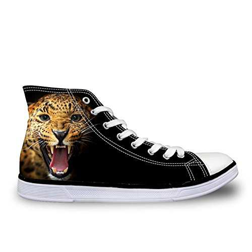 FOR U DESIGNS Men Casual High Top Canvas Shoes 3D Animals Zoo Printed Flats Sneakers Leopard Face Hk1u05nSl