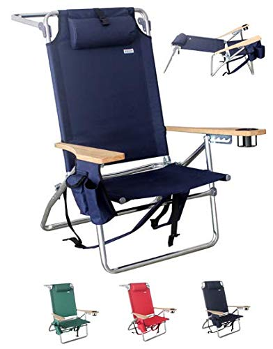 Vallf Deluxe Premium & High-End Beach Chair Lightweight Aluminum Lay-Flat Pillow Backpack Oversized with High Seat & High Back Phone Pouch and Drink Holder  - Deluxe Beach Chair