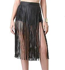 3dcf3cbca00ab Mrotrida Women's Tassels Leather Skirt S..