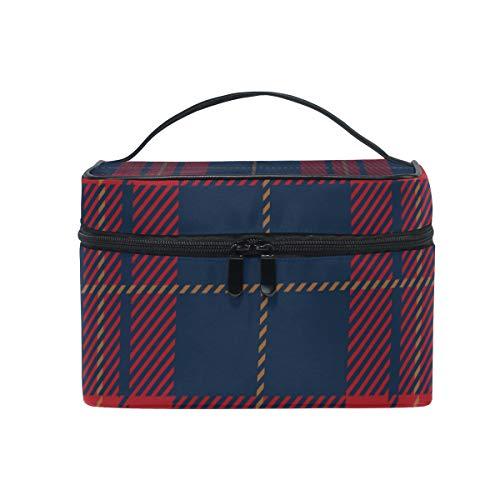 Makeup Cosmetic Bag Blue Red Tartan Plaid Scottish Pattern Portable Travel Train Case Toiletry Bags Organizer Multifunction Storage (Plaid Case Train)