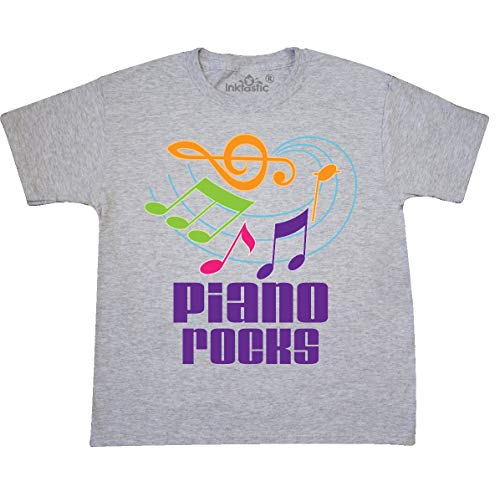 - inktastic - Piano Rocks Pianist Youth T-Shirt Youth Small (6-8) Ash Grey 1bcac
