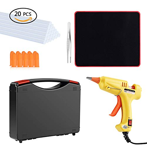 Hot Pad Super Mouse (Hot Glue Gun Kit with 20 Pcs Glue Sticks, Mouse Pad, Anti-Hot Cover,Portable case for DIY Small Projects, Craft and Arts & Home Or School Quick Repair Sealing Use, Christmas Decoration/Gift (20 Watt))