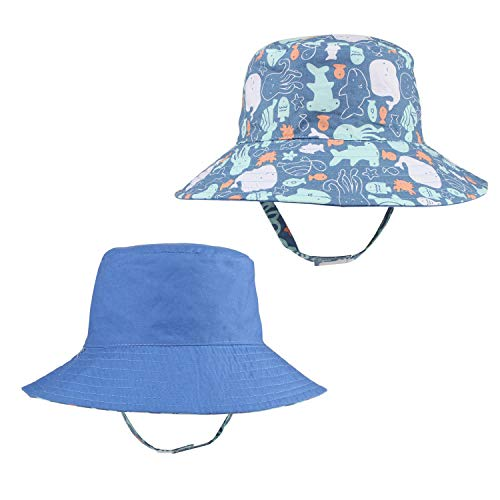 Kids Toddler Boy Floppy Sun Hats Reversible Wide Brim Bucket Fisher Man Cap for Beach Mountaineering Blue