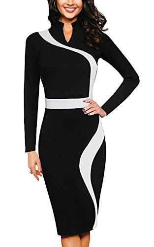 Elgant Manche Femmes Lapel B320 HOMEYEE de Robe Noir Soire Bodycon Noir Party d'affaires Slim TFxqwq