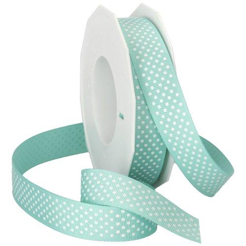 Morex Swiss Dot Polyester Grosgrain Ribbon, 7/8-Inch by 20-Yard Spool, Aqua