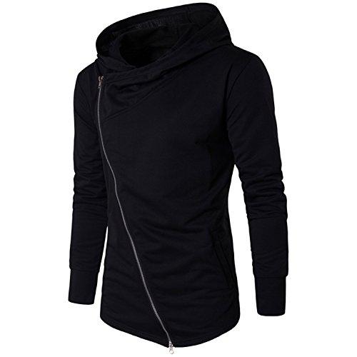 Sonjer Men Hoodies Street Wear Diagonal Zipper Slim Fashion Sweatshirt Men'S Tracksuit Men Assassins Creed Hoodies M-3Xl Black L -