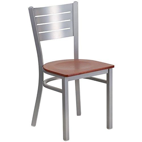 (Flash Furniture HERCULES Series Silver Slat Back Metal Restaurant Chair - Cherry Wood Seat)