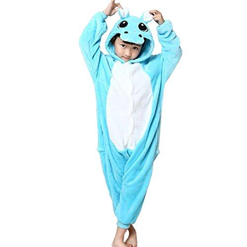 ABING Halloween Pajamas Homewear OnePiece Onesie Cosplay Costumes Kigurumi Animal Outfit Loungewear,Hippo Chidren Size 115 -for Height:126-137cm