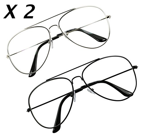ium Metal Wire Pilot Teardrop Aviator Clear Lens Eye Glasses (2-Pack Silver & Black, 135) (Teardrop Saver)