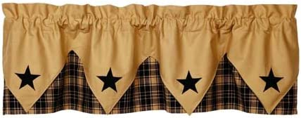 Olivia/'s Heartland country primitive VINTAGE STAR Black pointed VALANCE curtain