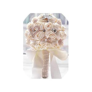 in Stock Stunning Wedding Flowers White Bridesmaid Bridal Bouquets Artificial Rose Wedding Bouquet Fw139,Cream 113
