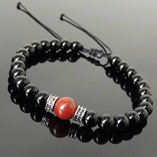 Men and Women Adjustable Braided Drawstring Bracelet Handmade with 6mm Bright Black Onyx, 8mm Red Jasper Stone and Genuine 925 Sterling Silver Cross Spacers - Sterling Red Jasper