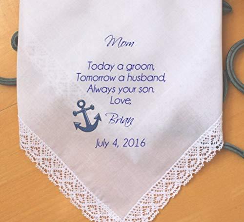 (MOTHER Of The GROOM Handkerchief Hanky Hankie Hankerchief - From the GROOM - Mom - MoG - Wedding - Today A Groom Always Your Son-LS6FCHA-I by Snugahug[160])
