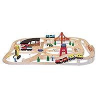 """Juego de ferrocarriles de madera Melissa & Doug, vehículos, construcción, 130 piezas, 17 """"Alt. X 5"""" An. X 28 """"L"""