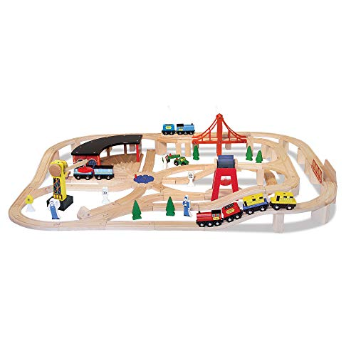 Melissa & Doug Deluxe Wooden Railway Train Set (130+ ()
