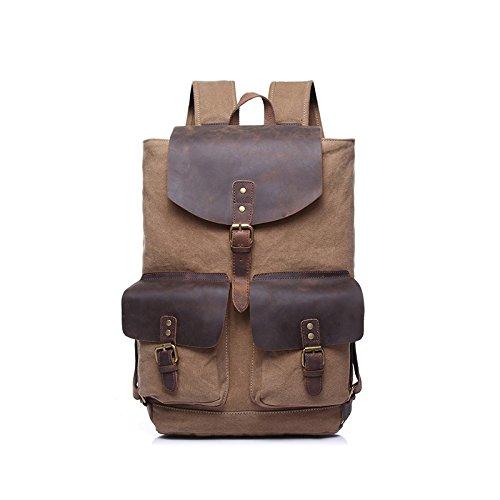 BAGEHUA 男性及び女性のキャンバスバッグ、カジュアルな旅行、大容量ファッション男性のバックパックは、女性の耐久性に優れた屋外ピクニックバックパック(長 28 cm 、幅 14 センチ、高さ 48 cm ) B076K7VLMT Camel Camel
