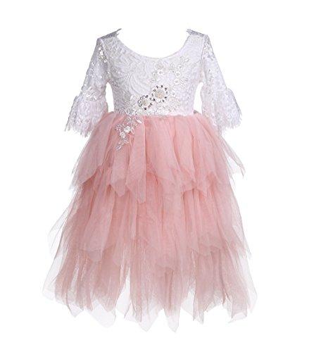 Flower Girls Tutu Lace Cake Dress Princess Birthday Party Dresses (Pink-Bell Sleeve, 2T) ()