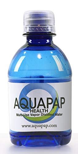 Pot Nasal Saline (AQUAPAP Health Neti Pot Nasal Irrigation Vapor Distilled Water 8 Pack of 8oz Single Serve Bottles (Water only Does not Include neti Pot))