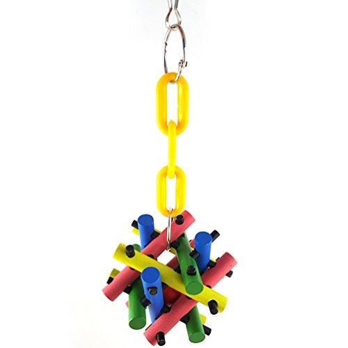 Bird Chew Toy, Hamster Squirrel Toy Square Cubo de madera de color Mordida colgante de juguete Escalada Durable Chain Block...