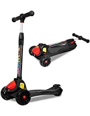 MKW Scooter for Kids 3 Wheels Kick Scooter with Adjustable Handles, Foldable Design and PU Flashing Wheels for Boys and Girls Age 3-15