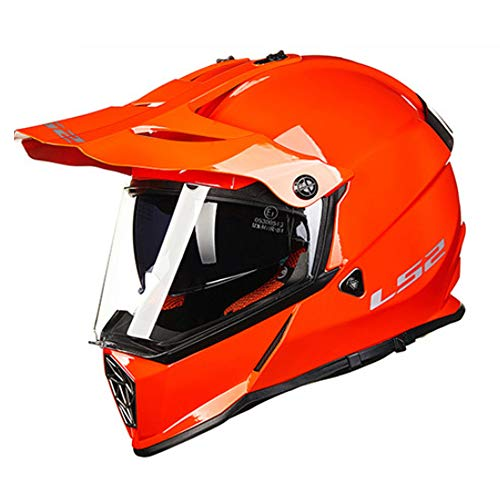 YLee MX Motorcycle Adult Helmet Off-Road Anti-Collision uncovering Scooter Four-Wheeled Mountain Bike Full Helmet/DOT/with flip Double Goggles,Orange,XL