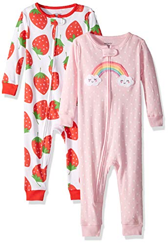 Carter's Baby Girls 2-Pack Cotton Footless Pajamas, Strawberry/Rainbow, 12 Months -