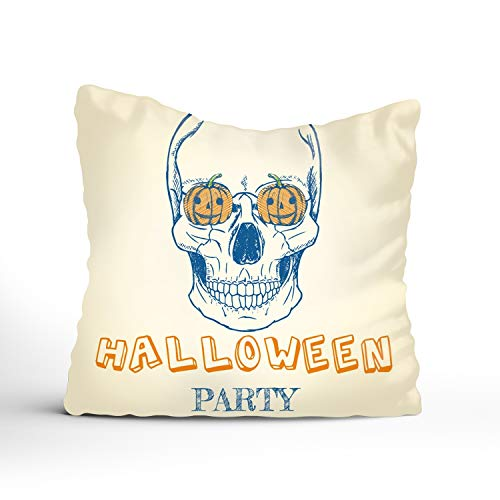 (FunnyLife Cushion Cover Halloween Skull and Pumpkins Pillow Sofa Throw Printed with Hidden Zipper Closure Only Cover No)