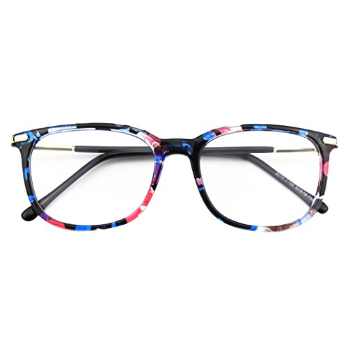 Happy Store CN79 High Fashion Metal Temple Horn Rimmed Clear Lens Eye Glasses,Mixed ()