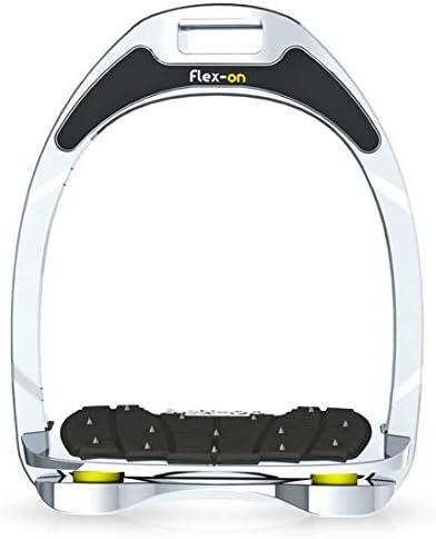 【Amazon.co.jp 限定】フレクソン(Flex-On) 鐙 アルミニウムレンジ Inclined ultra-grip フレームカラー:シルバー エラストマー:イエロー 81845