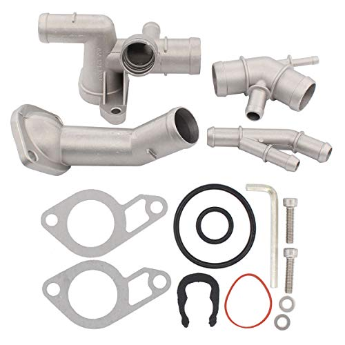 - NewYall Cast Aluminum Thermostat Housing Cover Coolant Flange Cooling Hose Water Distribution Pipe Upgrade Kit