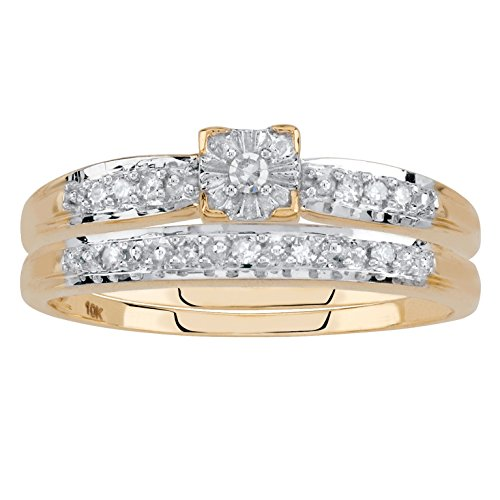 10k Yellow Gold White Diamond Wedding Ring 2 Piece Set .12 Cttw, HI Color, I1-I2 Clarity Size 8 (Two Colour Diamond Set)