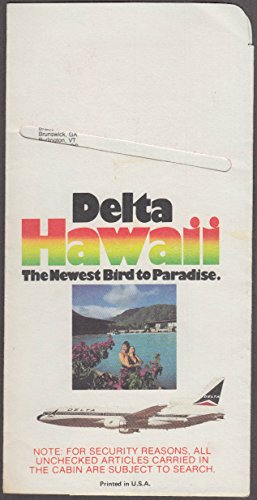 Delta Air Lines Hawaii Bird to Paradise airline ticket wallet wrapper 1984 (Tickets Airline Hawaii)