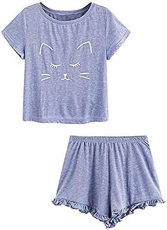 Conjunto de Pijama Mujer Verano Básica Estampado de Gatos Camiseta con Calzoncillos Blusa Talla Grande Camisa Transpirable Dos Piezas de Batas Largas Ropa de Dormir Cómoda con Manga Corta: Amazon.es: Ropa y