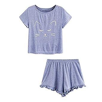 Conjunto de Pijama Mujer Verano Básica Estampado de Gatos Camiseta ...