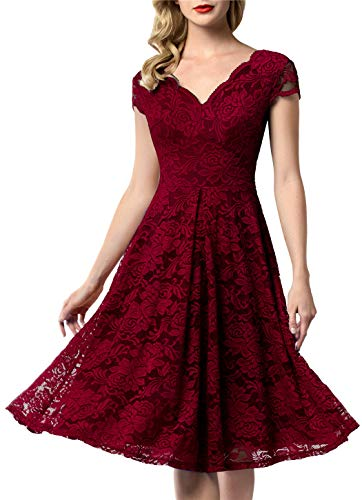 AONOUR 0052 Women's Vintage Floral Lace Bridesmaid Dress Wedding Party Midi Dress Cap Dark Red S