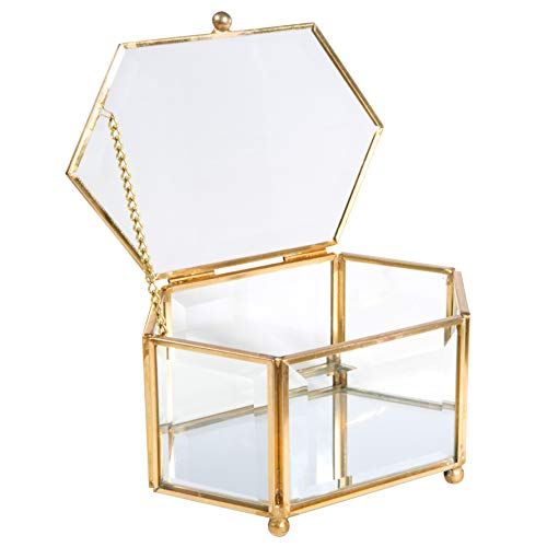 Home Details Vintage Mirrored Bottom Glass Keepsake Box Jewelry Organizer, Decorative Accent, Vanity, Wedding Bridal Party Gift, Candy Table Décor Jars & Boxes, Diamond Shape, Gold