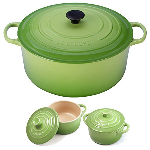 Le Creuset Signature Palm Enameled Cast Iron 13.25 Quart Round French Oven with 2 Free Stoneware Cocottes