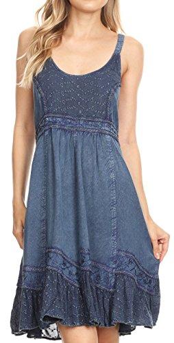 Bohemian Smock - Sakkas BD-800 - Mandi Womens Summer Casual Bohemian Sundress Sleeveless Short Mini Dress - Blue - M