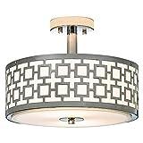 POPILION 16 Inches New design Silver Flush Mount Ceiling Light, Chrome Ceiling Lights