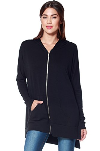 A+D Womens Light Oversized Zip Hoodie Sweatshirt w Side Slits (Black, Large)