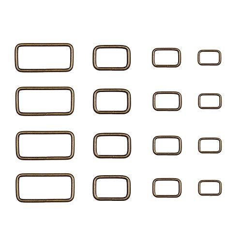 MIUSIE Bag Supplies Set-120 Pieces Assorted Metal Bronze Rectangle Buckles,0.79inch /0.98inch/1.26inch/1.5inch Rectangle Buckle Belt for Backpack,Belt, Bag DIY