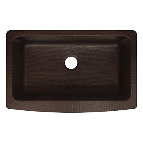 Zuhne Antica 33u2033 Farmhouse Apron Front Copper Kitchen Sink Single Bowl ...