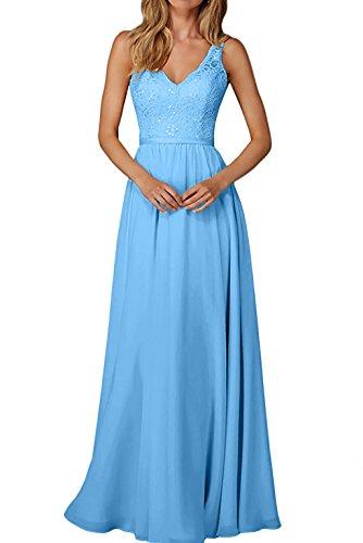 Ausschnitt La Partykleider Lang Spitze Abendkleider Promkleider Braut mia Damen Blau Abschlussballkleider Tuerkis V qawxa6ZXF