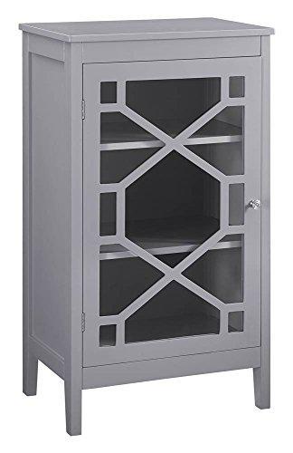 Linon Fetti 20in Curio Cabinet in Gray